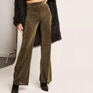 Gold & Black Glitter Flare Pants Forever 21